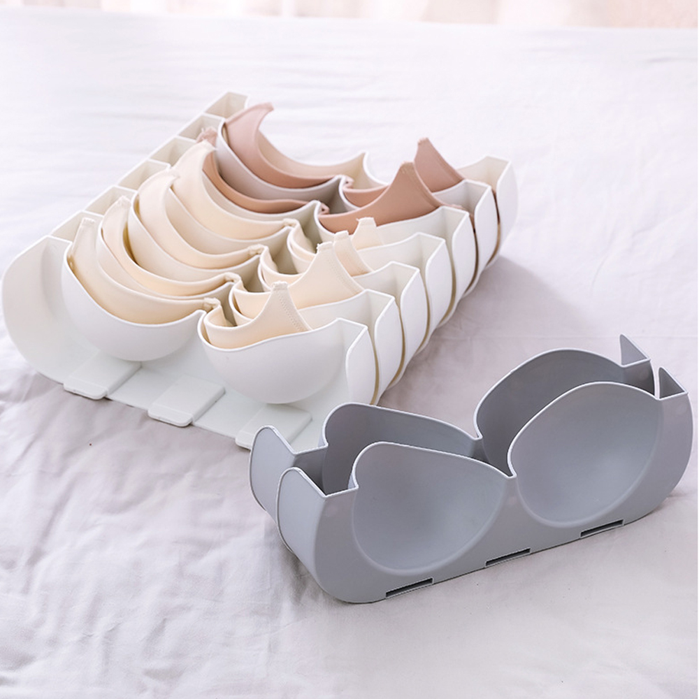 6pcs/set Underwear Boxes Stable Stackable Bra Clothes Storage Rack Wardrobe Drawer Divider Finishing Combination Bra Organizer