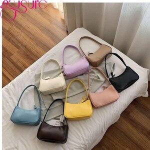 Gusure Retro Baguette Bags Pure Color Women Shoulder Bags Small Handbag Leisure Lady Mini Soft Pu Leather Purse and Handbags