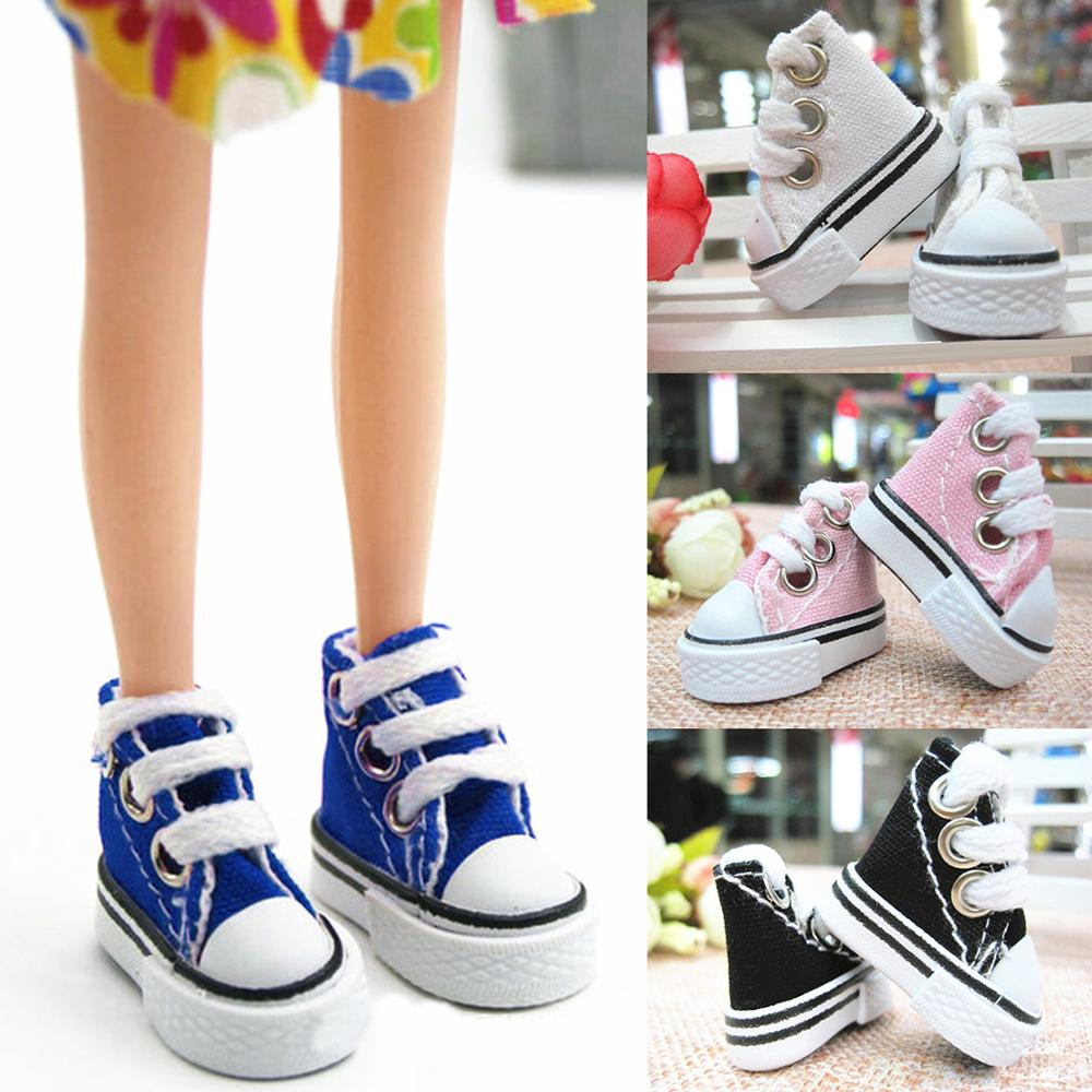 Besegad Kids 1 Pair Fashion Mini Doll Canvas Denim Shoes Boots Dolls Sneakers Doll Clothes Accessories For Barbie Doll Toy