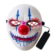 2019 Halloween Big Mouth Clown Pattern LED Cold Light Glowing Mask Horror Dress Up Props Festive Party Supplies New