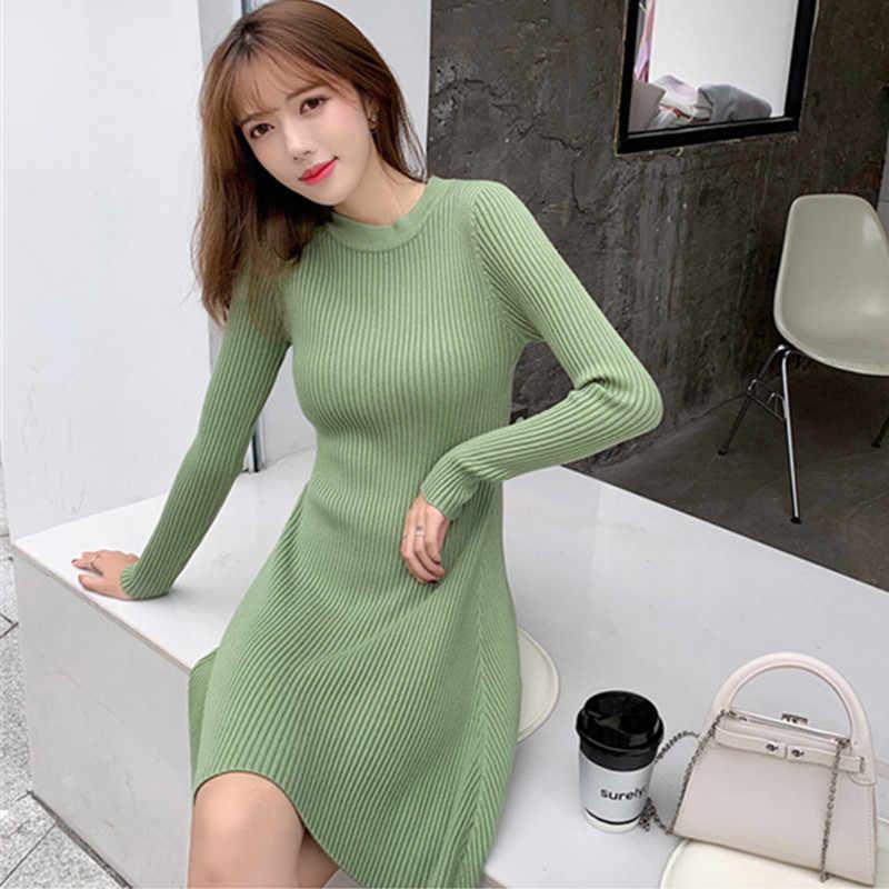 Zarif kış kazak elbise kadınlar rahat tüm maç O boyun uzun kollu örme elbise çok renkli çizgili A-line kazak elbise