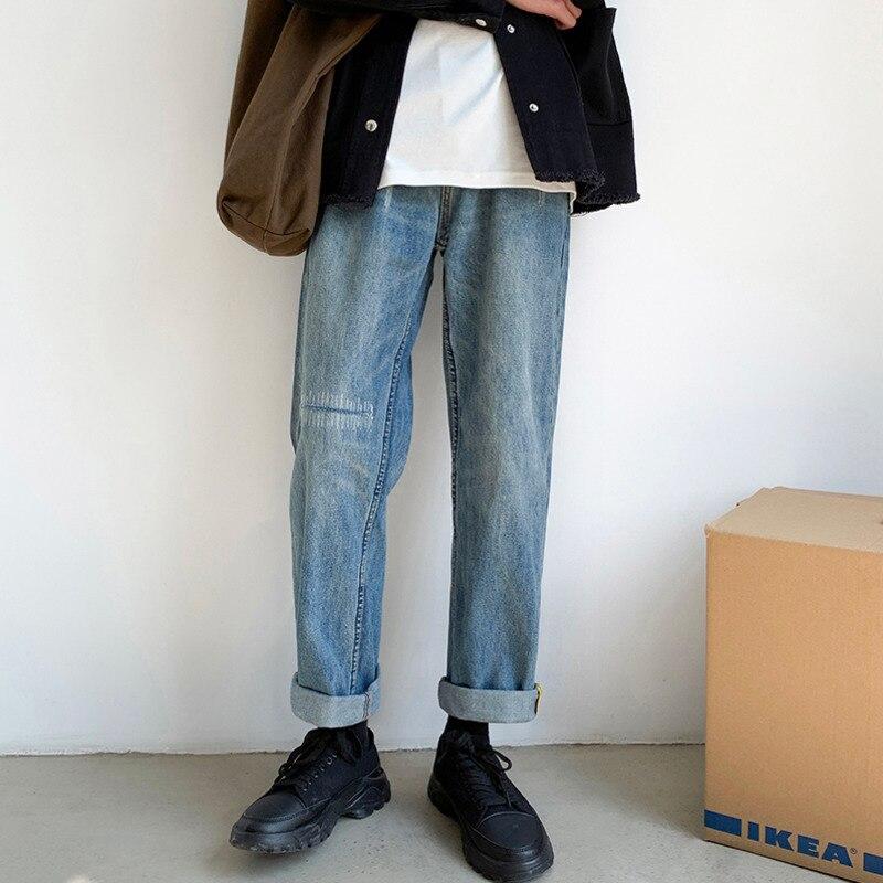 2019 automne et hiver nouveau Couple Version coréenne neutre de la tendance droite bleu jambe large Jeans