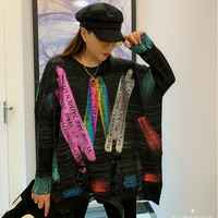 American Winter Sweaters Women Punk Rock Puls Size Sweater Womens Tops Streetwear Colorful Print Pullovers Harajuku SA098S30
