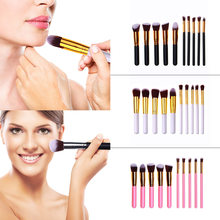 10pcs Wooden Handle Nylon Makeup Brushes Excellent Craftsmanship Well Durability Eyelash Face Powder Brush Cosmetic Tool(China)