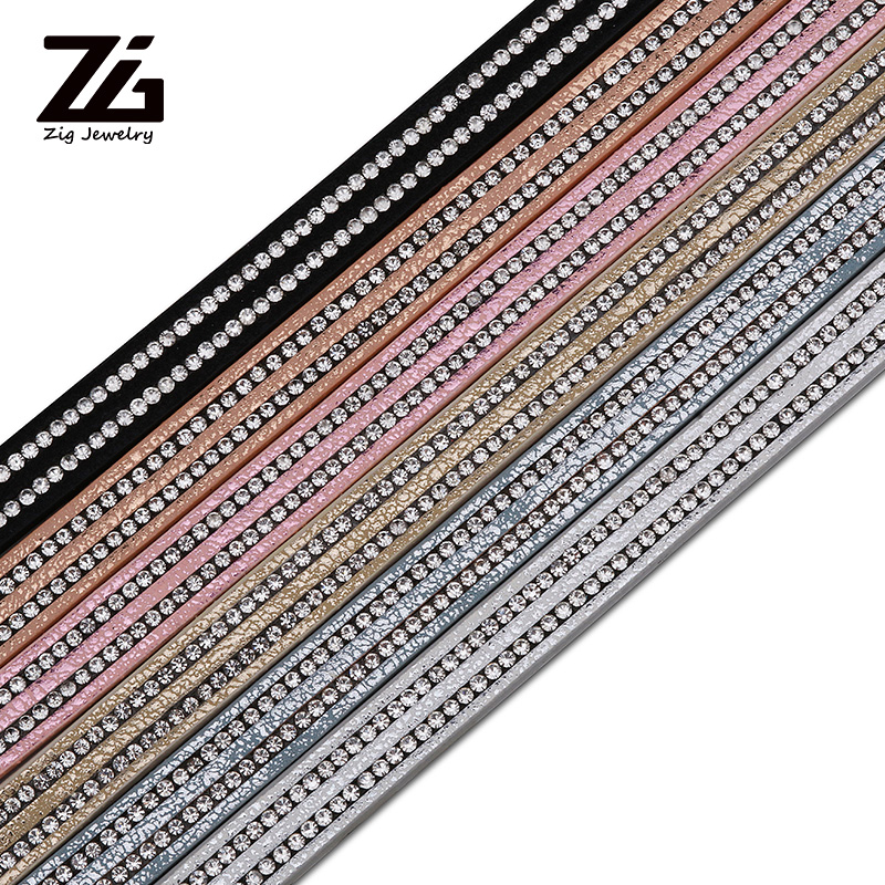 ZG 1.2m10mm Flat PU Leather Cord/Crystal Rhinestone Rope/Jewelry Findings Accessories/Fashion Jewelry Making/Bracelet Materials