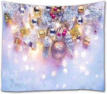 Holiday Background Light Garland and Spruce with Snow Christmas and New Year Art Tapestry