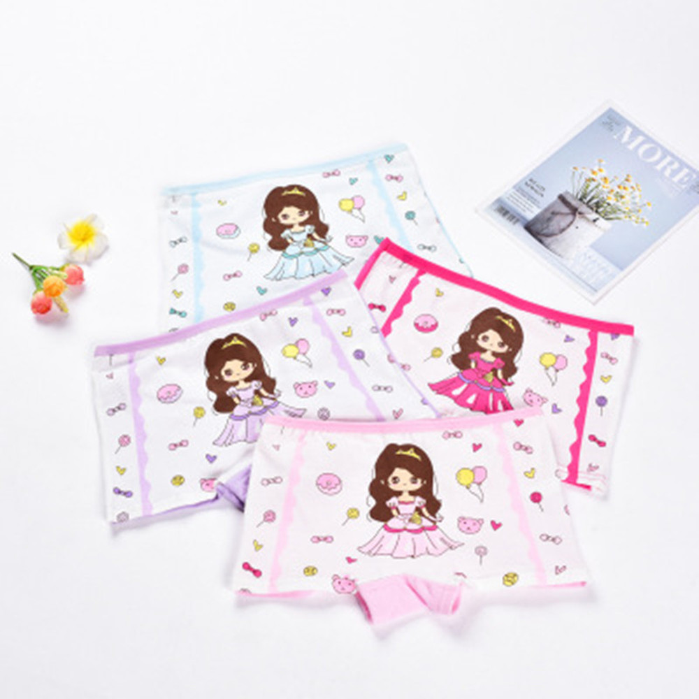 2-12Y Children 4 Pieces/Lot Underwear High Quality Cotton Girls Panties Cute Pattern Kids Boxer Briefs Child Soft girl Pants 4