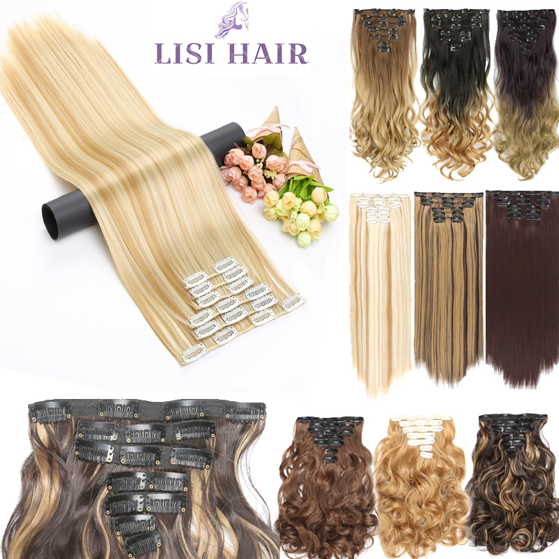 LISI HAIR Synthetic 16 Clips In Hair Extension 56cm 24 Inch Long Straight Hair Fake False Hairpiece Clip In Hair Extension