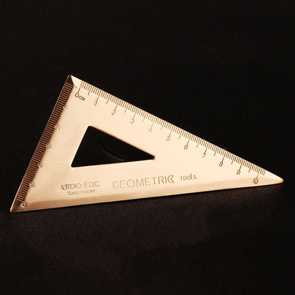 Thickness 0.08inch Super Durable Brass Set Square Triangle-Ruler Stationery Math Geometry Best Gift For Students And Children (S
