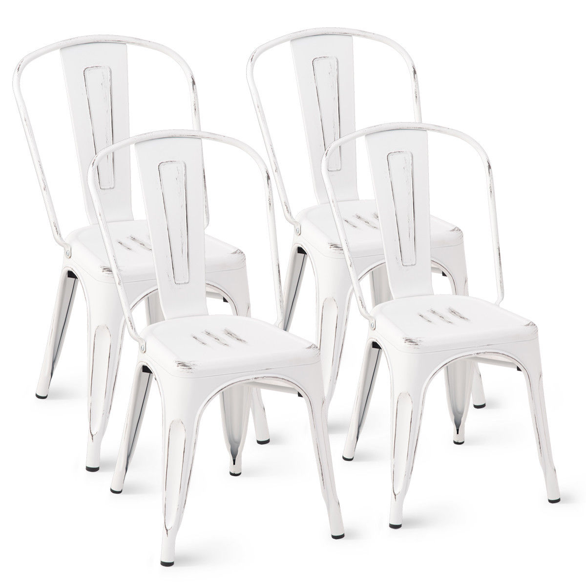 Costway Set of 4 Distressed Style Dining Side Chair Stackable Bistro Cafe Metal White