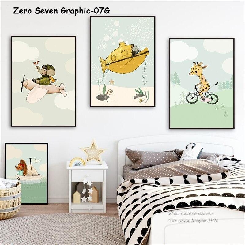 Black Feather Cute Cartoon Nursery Bedroom Wall Decor Art Poster Print
