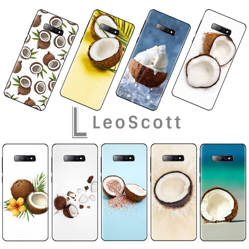 <font><b>Fruit</b></font> Coconut on the beach Black Soft Shell Phone <font><b>Case</b></font> Capa For <font><b>Samsung</b></font> S6 S7 edge S8 S9 S10 e plus A10 <font><b>A50</b></font> A70 note8 J7 2017 image