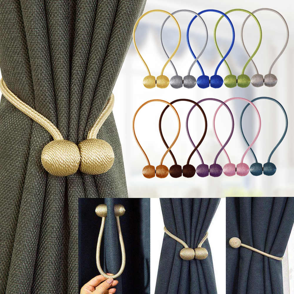 belavenir 1pc magnetic curtain tieback high quality holder hook buckle clip curtain tieback polyester decorative home accessorie