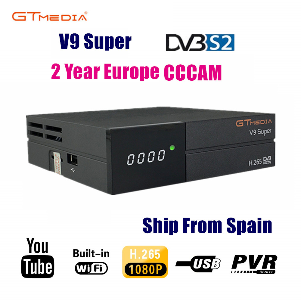 New GTmedia V9 Super Satellite Receiver Freesat V9 Super Updated GTmedia V8 Nova V8 Super With CCcam Cline For 2 Year Europe