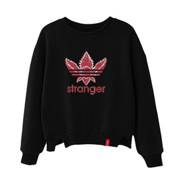 Black Stranger Things Sweatshirt Kpop Oversized Hoodie Print Kawaii Harajuku Sweat Femme Oversize Ladies Fall Clothing