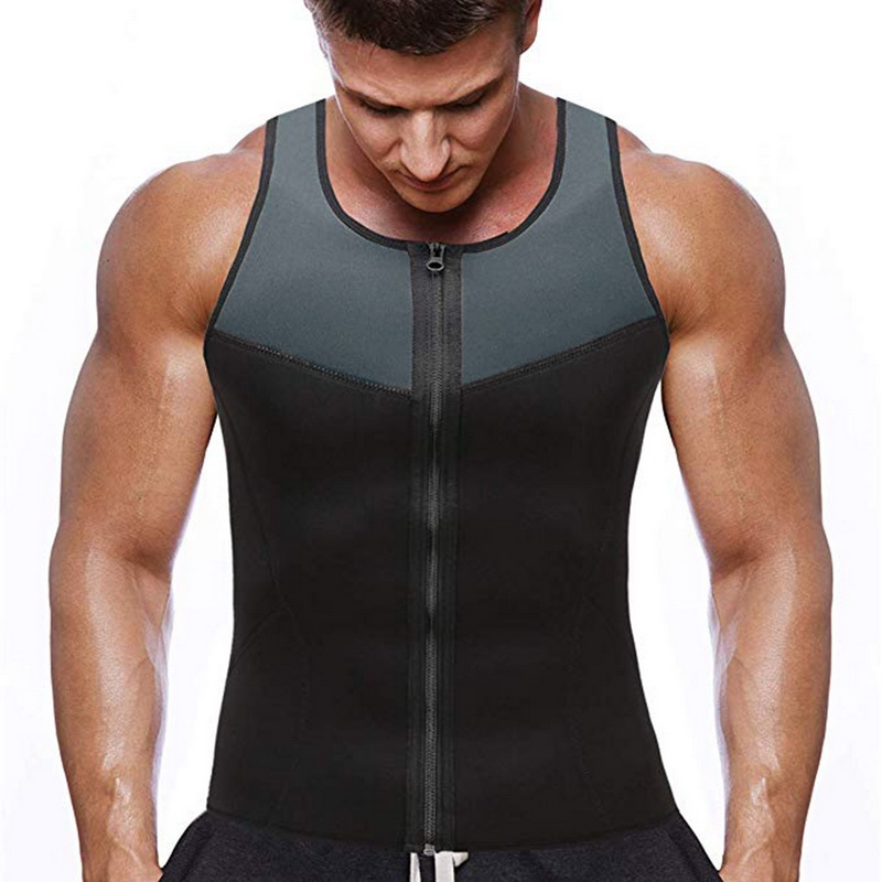 running - Bodyshaper Tops For Men Fashion Fitness Gym Neoprene Sauna Tank Top Waist Trainer Body Shaper Slimming Suit Zipper Vest