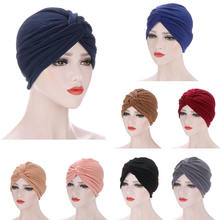 Женская шляпа плиссированная мусульманский тюрбан Кепка chemo