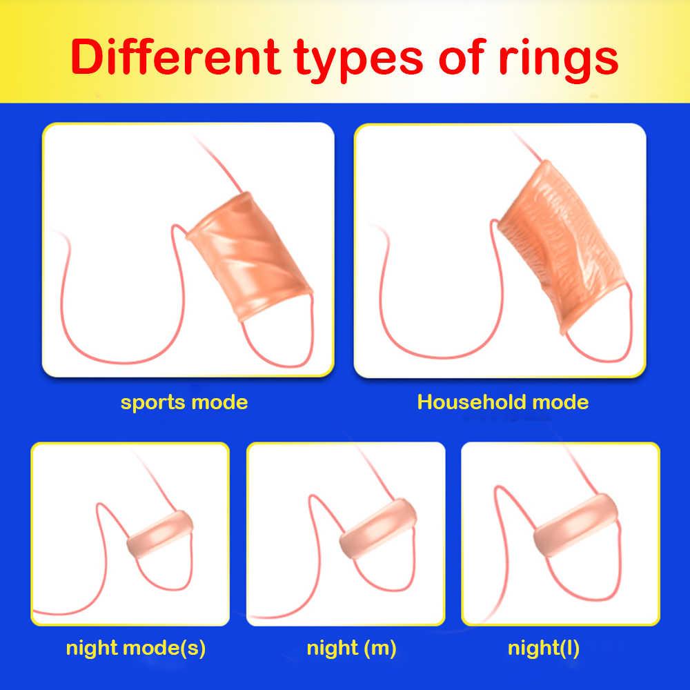 แหวน Glan Stimulat Foreskin ที่ถูกต้องอวัยวะเพศชาย DELAY Ejaculation สกรูรูปร่างอวัยวะเพศชายแหวน 5PCS 2 ขนาดของเล่นสำหรับชาย