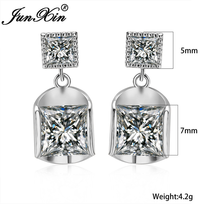 Unique Geometric Square Earrings White Gold Rose Gold Color White Zircon Crystal Drop Earrings For Women Wedding Ear Jewelry Cz