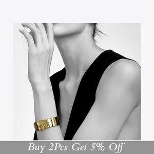 Image 2 - Enfashion Jewelry Circle Ring Wide Cuff Bracelet Noeud armband Gold color Bangle Bracelet For Women Bracelets Manchette Bangles
