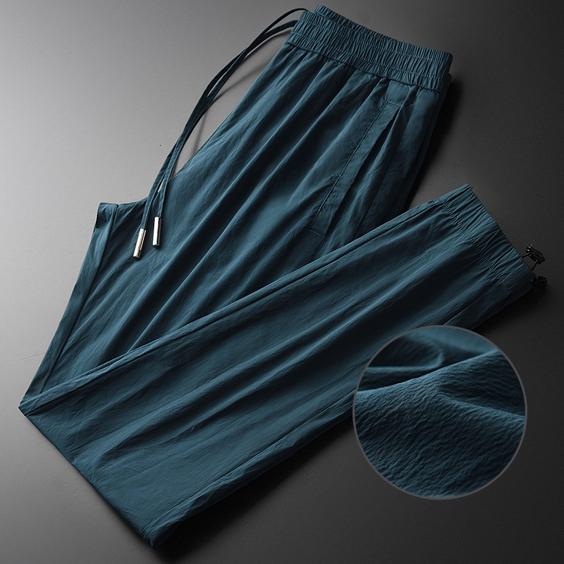Blue Man Pants Luxury Summer Wrinkle Fabric Slim Fit Mens Pants Plus Size 4xl Hight Quality Casual Men Ankle-length Pants