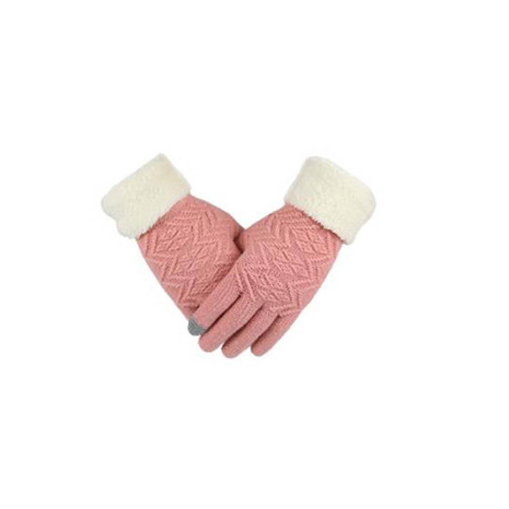 Women Fashion Winter Warm Patchwork Solid Knitted Casual Keep Warm, Touch Screen Winter, Autumn Gloves