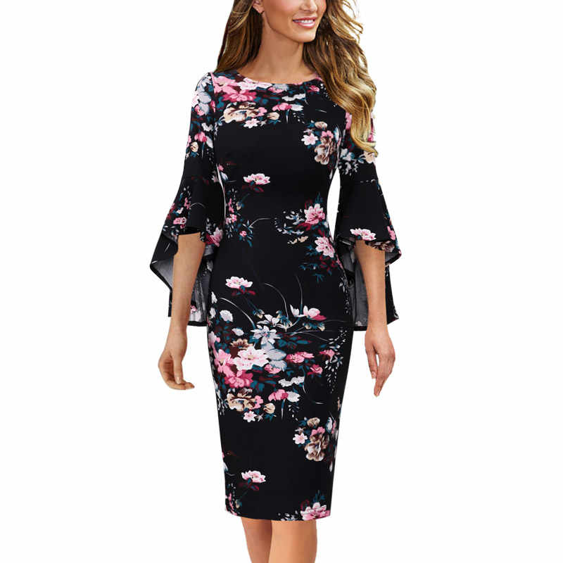 Vfemage Vrouwen Herfst Elegante Lange Flare Bell Mouwen Fashion Vintage Pinup Formele Party Cocktail Bodycon Pencil Schede Jurk 1703