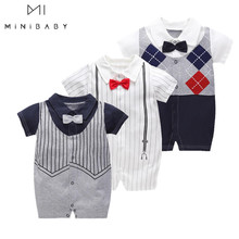 Romper Infant Clothing Gentleman Birthday-Party Newborn-Baby Baby-Boy Striped Summer
