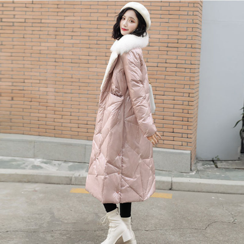 2020 New Arrival Korean Winter Women Down Jacket X-long Coats Turn-down Collar With Real Fox Fur Thick Warm Outerwear