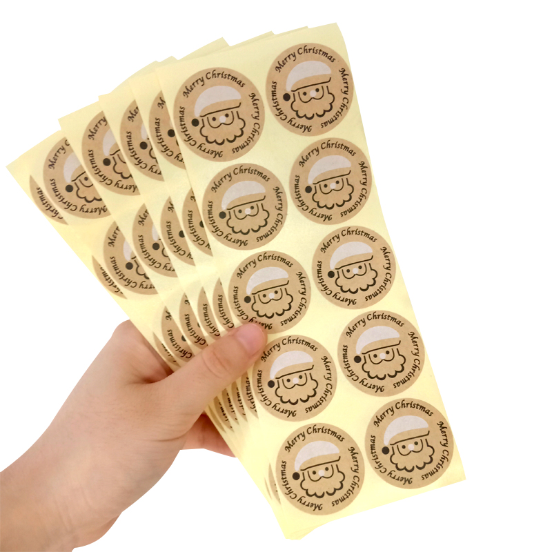 100Pcs/pack Merry Christmas Round Kraft Sticker DIY Paper Label Kid Stationery Stickers