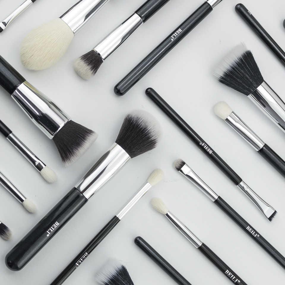 Beili preto cabra cabelo profissional pincéis de maquiagem conjunto fundação corretivo sombra olho mistura pincel cosméticos pinceaux maquilla