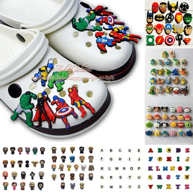 19-26pcs/set Avengers Pikachu Tsum Tsum Letters Shoe Charms Shoe Accessories For Kids Croc Jibz Croc Charms Fit Silicone Bands