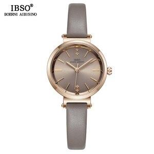 Image 2 - Relógio feminino ibso 8mm, relógio de pulso ultrafino para mulheres, relógio de quartzo na moda 2020 feminino
