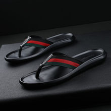 Coslony slippers men top shoe brands leather high quality black striped summer slippers soft flip flop men sleepers shoes men