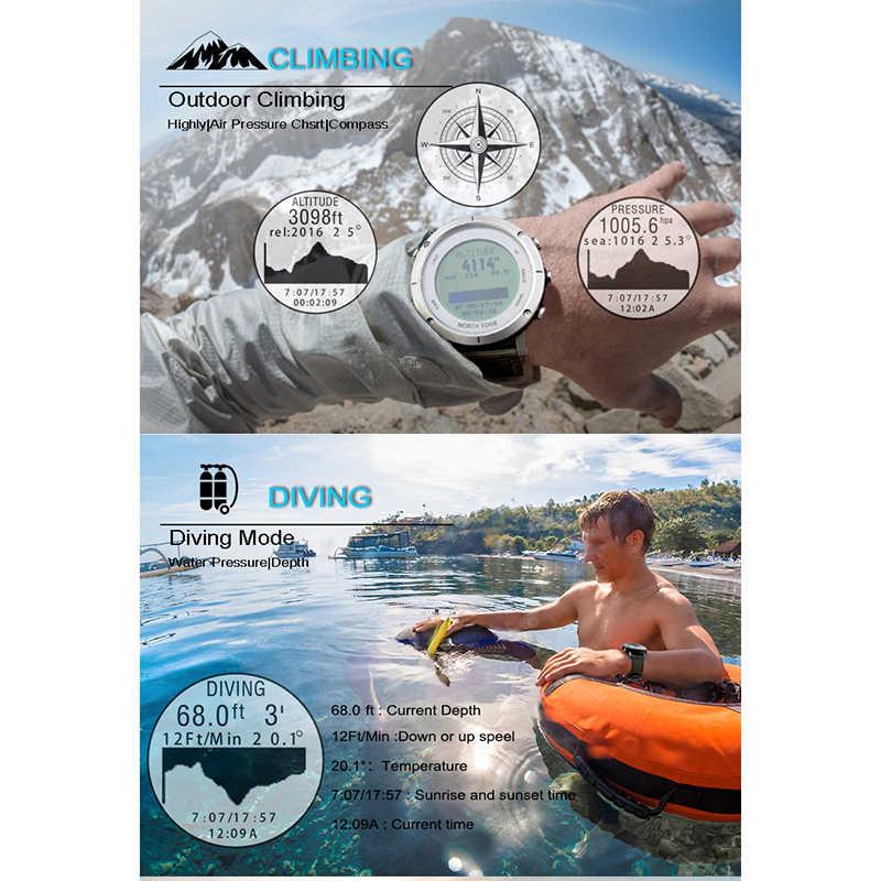 الساعات الذكية الرجال ساعة رياضية خارجية مقاوم للماء 50 متر لتحديد المواقع مقياس الارتفاع مقياس الارتفاع مقياس الحرارة البوصلة الارتفاع الغوص نورث EDGE