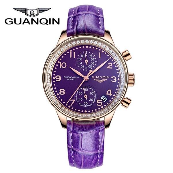 GUANQIN GQ15008 lady Chronograph series quartz watch women fashion luxury watch female Austria Diamond red Leather strap - 2