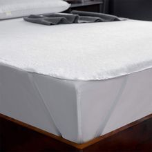 Mattress-Mat No-Pillowcase Terrycloth Waterproof Elastic-Tape Cotton with White Solid-Color