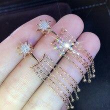 Long tassel gold color  earrings fashion shine AAA+ Zircon Crystal for women jewelry accessories wedding party
