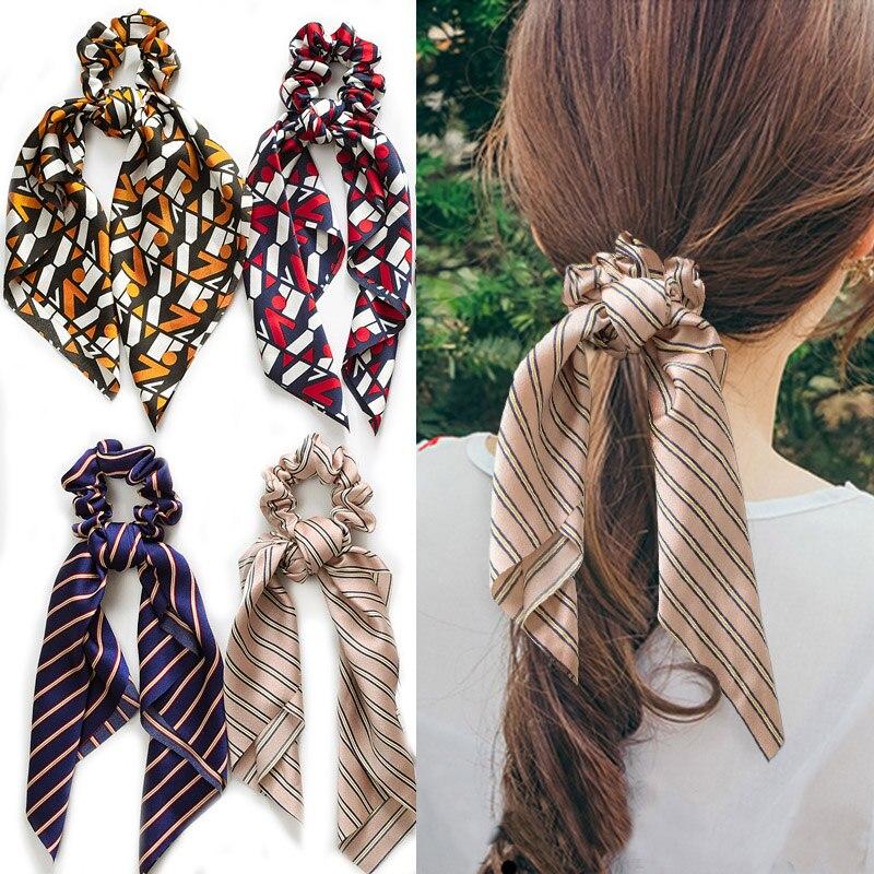 Fashion Stripe Floral Print Scrunchies Women Hair Accessories Scarf Handkerchief Elastic Ribbon Spring Ponytail Holder Hairbands
