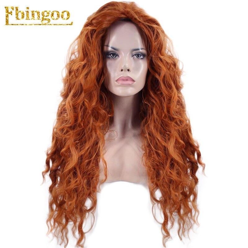 Ebingoo Merida Wig Orange Wig Tinker Bell Princress Belle Ariel Rapunzel Wig Brown Red Blonde Long Synthetic Cosplay Women Wig