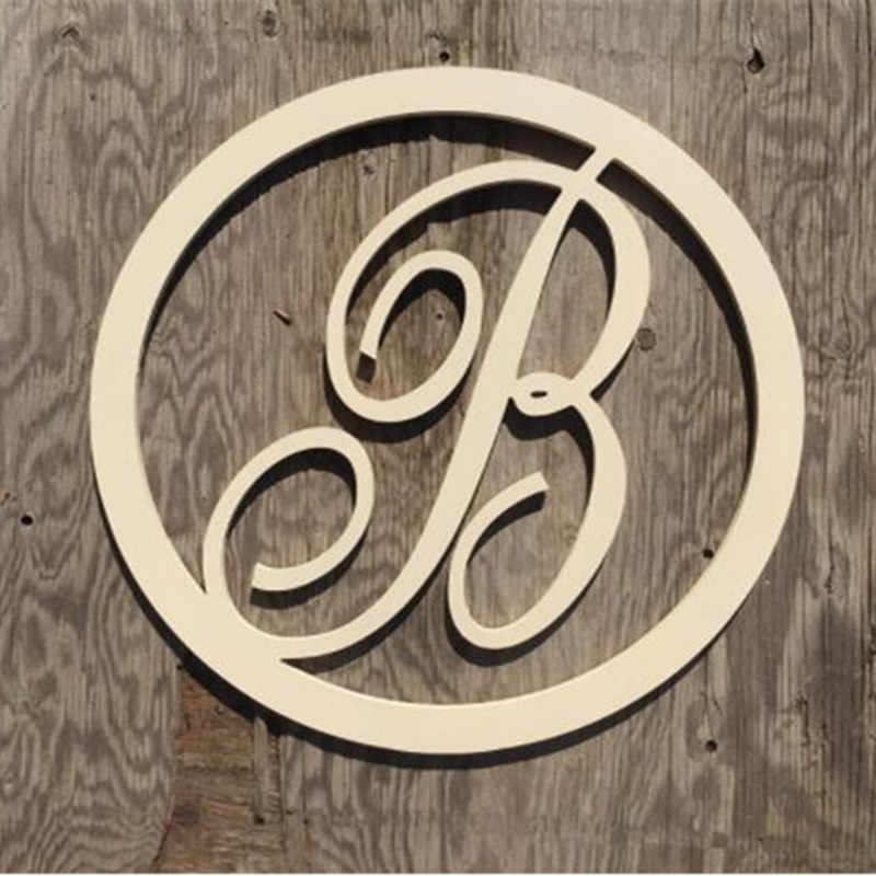 Circle Script Wooden Monogram Letters