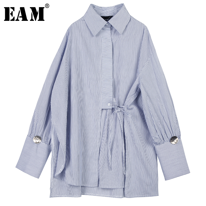 [EAM] Women Blue Striped Bandage Big Size Blouse New Lapel Long Sleeve Loose Fit Shirt Fashion Tide Spring Autumn 2020 1N527
