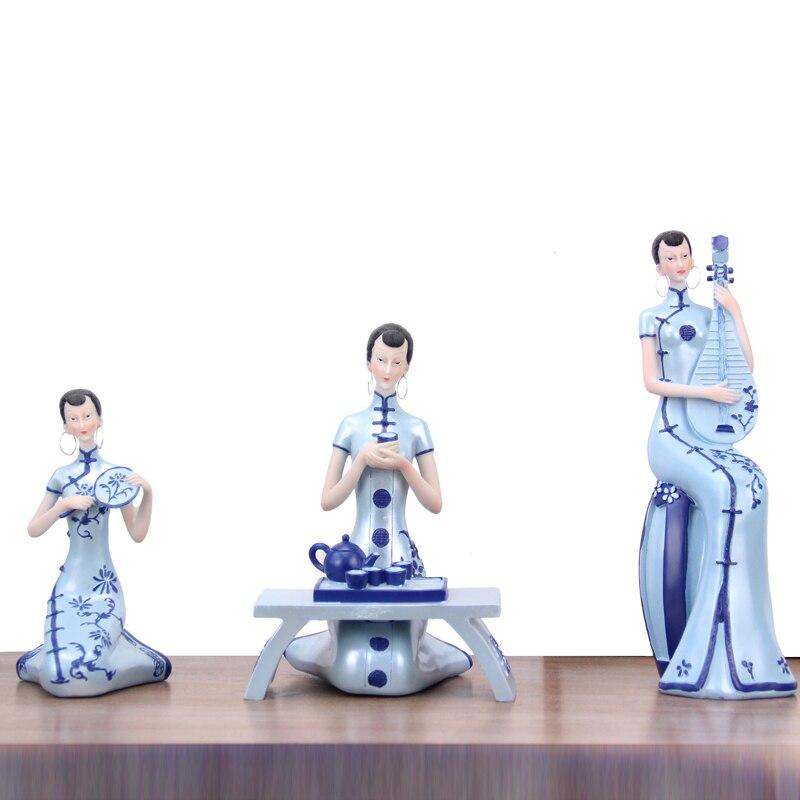 Nouveau chinois Cheongsam beauté Art Sculpture Zen maison de thé Figurine résine Art & artisanat décoration de la maison cadeau d'ouverture R2620