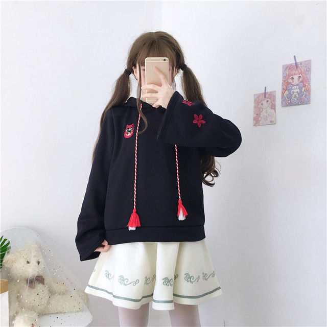 casual girl cute cat hoodies animal hoodies with ears and tail japanese embroidery hoodie oversized hoodie cute sweatshirt girls 4