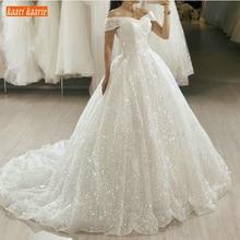 Bride-Gowns Wedding-Dresses Glitter Church Boho Bling White Train Princess Sweep Sequin