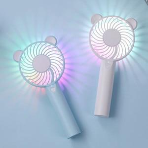 Image 1 - Bär Luft Fan Nette Cartoon Handheld USB Aufladbare Fans LED Licht Tragbare Luftkühlung Fan Mini Ventilador portátil Desktop