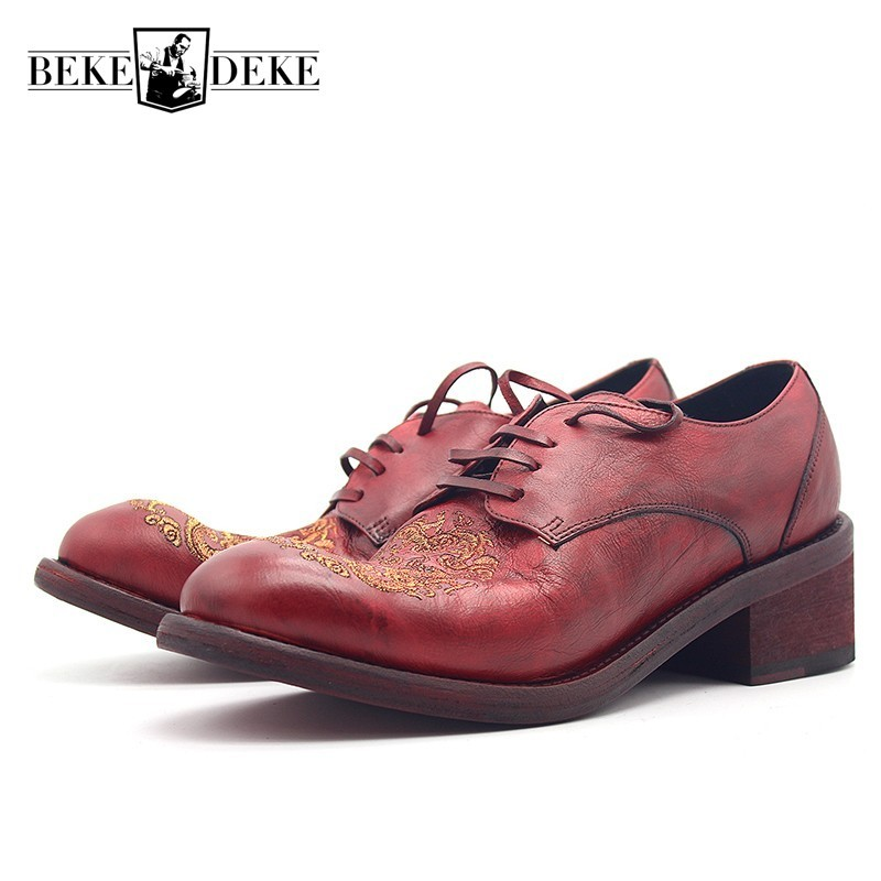 2020 Runway Fashion Genuine Leather Dress Shoes Men Embroidered Quality Cowskin High Heel Business Formal Derby Shoes Autumn New