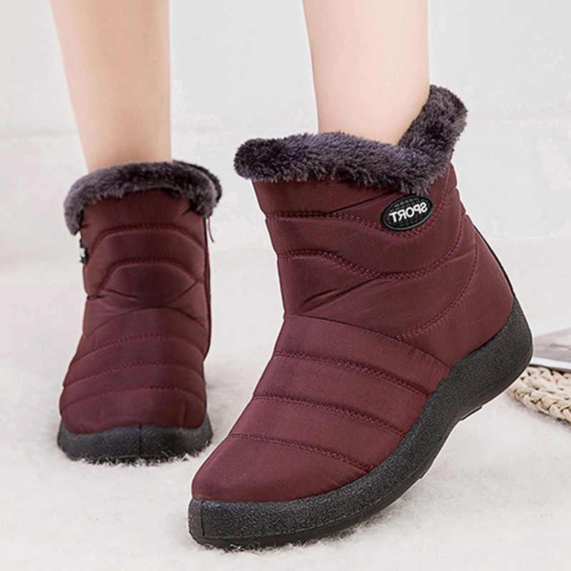 2019 kadın botları su geçirmez tıknaz ayakkabı kadın kış sıcak kürk kışlık botlar kadın süper sıcak yarım çizmeler Platform Botas Mujer