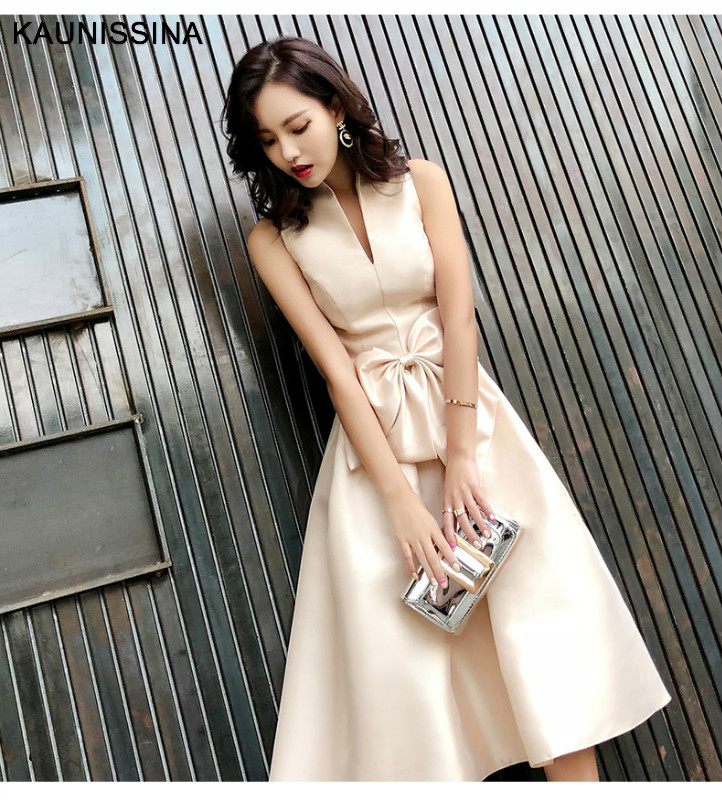 KAUNISSINA Champagne Cocktail Dresses Arty Dress Midi Elegant Stand Collar Bowknot Sleevesless A-Line Prom Dress Vestido