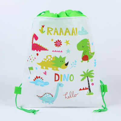 12pcs/lot Cartoon Dinosaur Boys Non-woven Bag Fabric Backpack Children Travel School Bag Decoration Gift Bag Drawstring Gift Bag